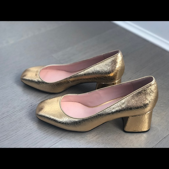 c229adfc1b3fa J. Crew Shoes - J crew block heel gold pump